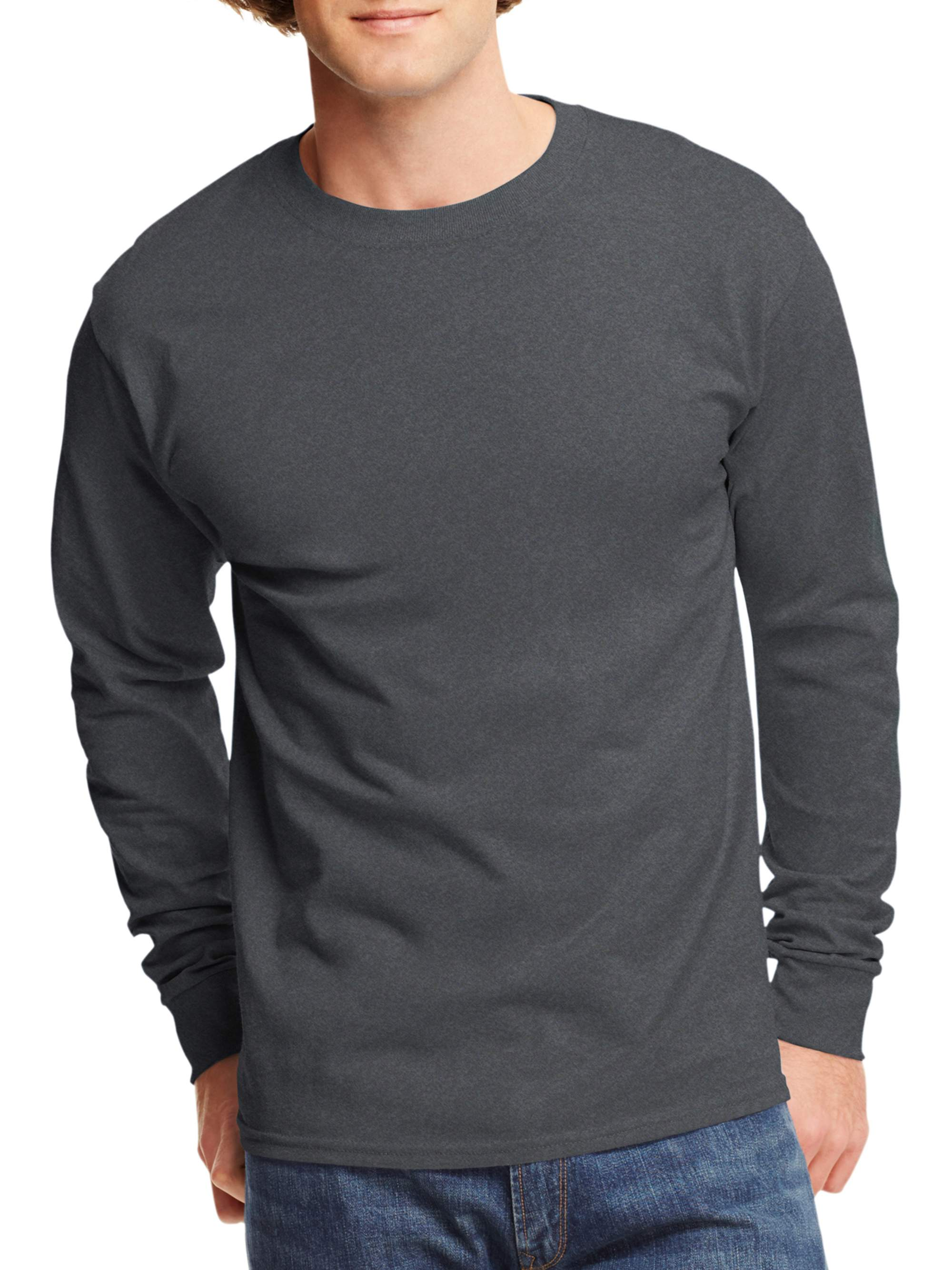 Hanes - Mens Tagless Cotton Crew Neck Long-Sleeve Tshirt - Walmart.com