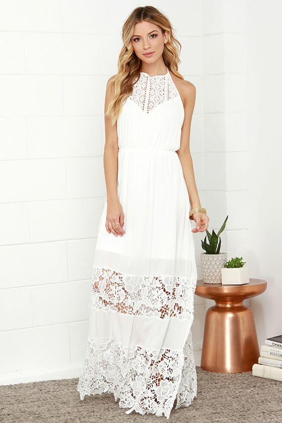 Ivory Dress - Maxi Dress - Lace Dress - Halter Dress - White Dress