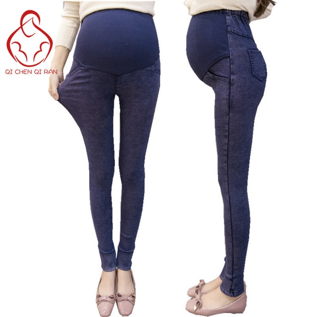 2017 Pregnant women with stretch maternity jeans Pregnant women