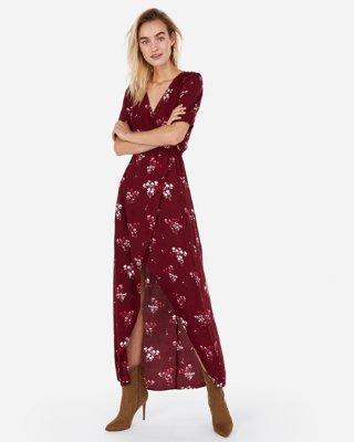 Satin Keyhole Cut-out Hi-lo Maxi Dress | Express