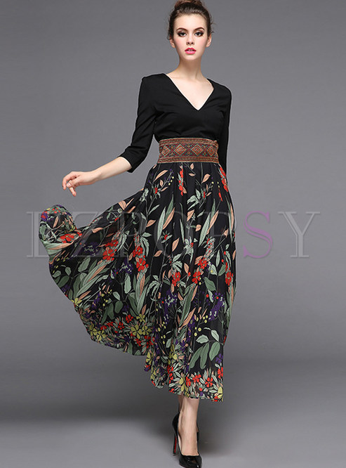 Dresses | Maxi Dresses | Stylish Stitching High Waist Maxi Dress