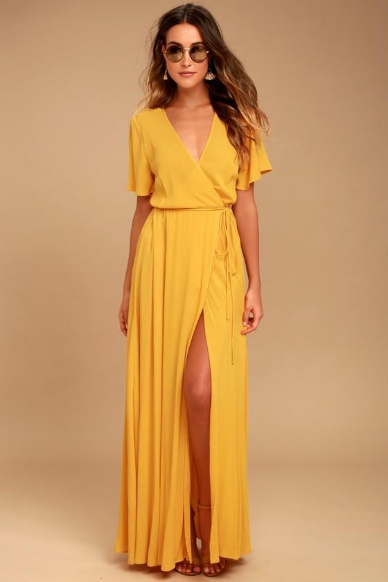 Lovely Golden Yellow Dress - Wrap Dress - Maxi Dress