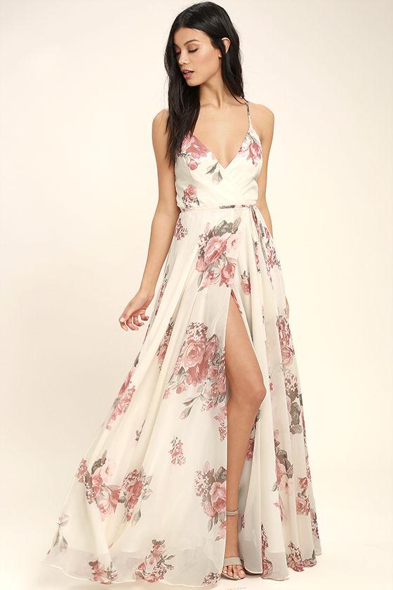 Lovely Cream Floral Print Dress - Wrap Dress - Maxi Dress