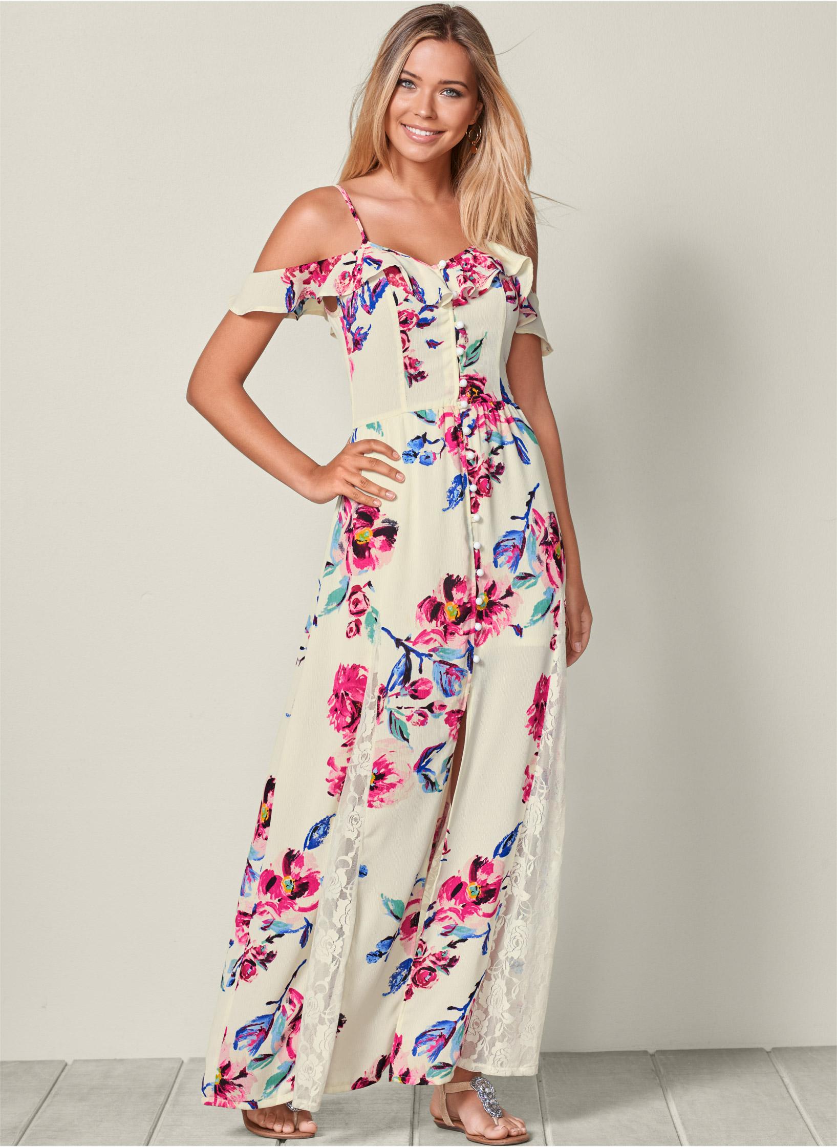 Maxi Dress: COLD SHOULDER MAXI DRESS | VENUS