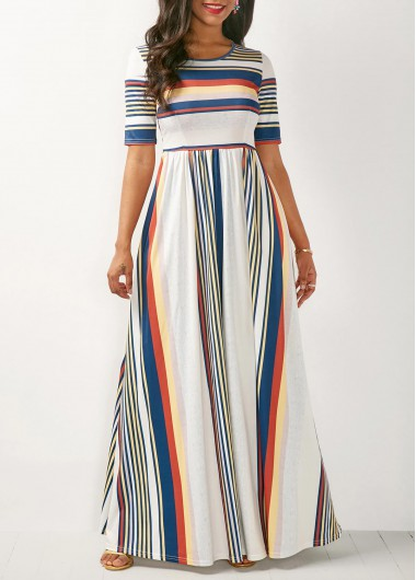 Stripe Print White High Waist Maxi Dress | Rotita.com - USD $33.66