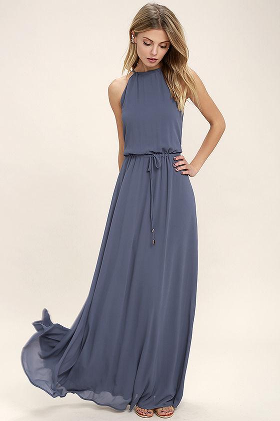 Lovely Denim Blue Dress - Maxi Dress - Sleeveless Dress - $86.00
