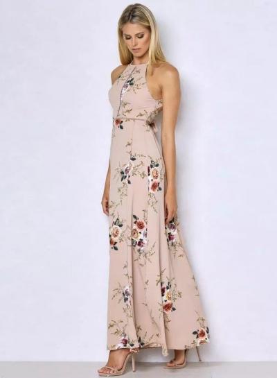 Women's Boho Halter Neck Floral Print Maxi Dress - AGATHAGARCIA.COM