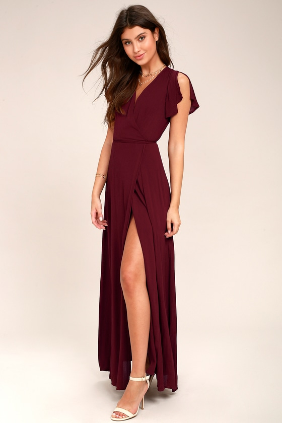 Lovely Burgundy Dress - Wrap Dress - Maxi Dress