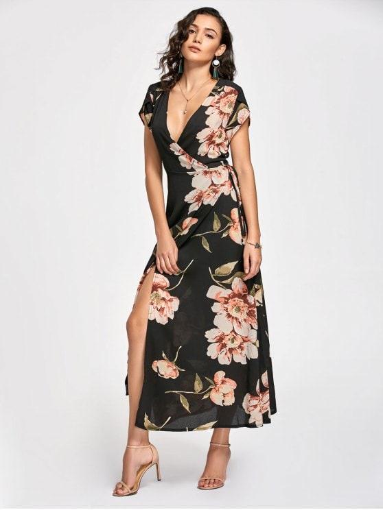 23% OFF] 2019 Floral Print Maxi Wrap Dress In BLACK L | ZAFUL