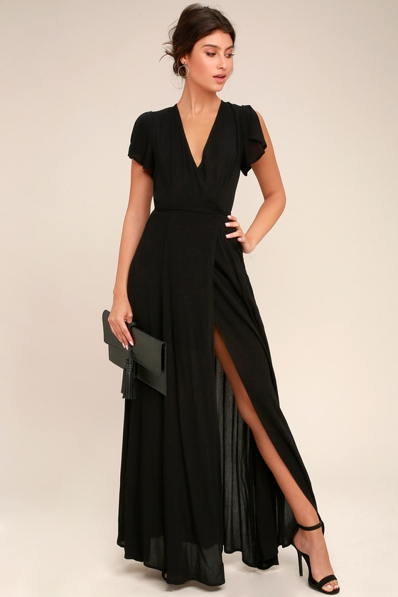 Lovely Wrap Dress - Black Dress - Maxi Dress