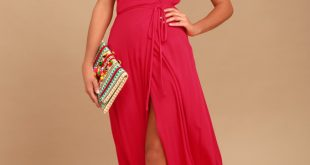 Lovely Red Dress - Surplice Wrap Dress - Maxi Dress