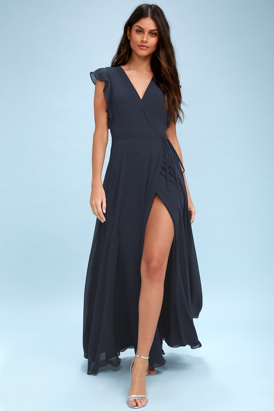 Stunning Maxi Dress - Wrap Maxi Dress - Navy Blue Maxi Dress