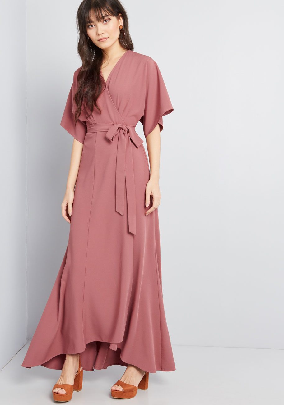 Everlasting Impression Maxi Wrap Dress Rose | ModCloth