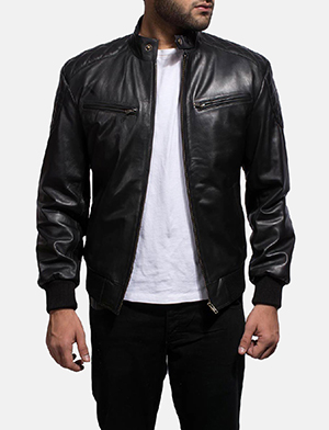 Mens Sven Black Leather Bomber Jacket