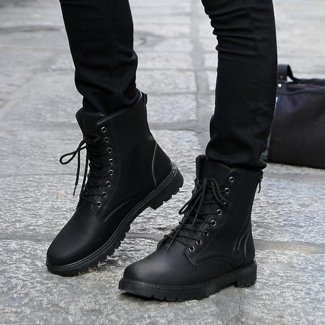 Free Shipping Retro Combat Boots Men Fashion boots Winter England