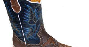 Amazon.com | Men Cowboy Genuine Cowhide Leather Square Toe Rodeo