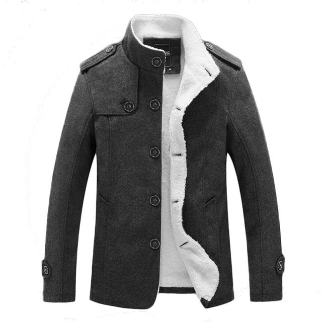 Winter Men Cotton Jacket Men Slim Wool Warm Outwear Coat Casual