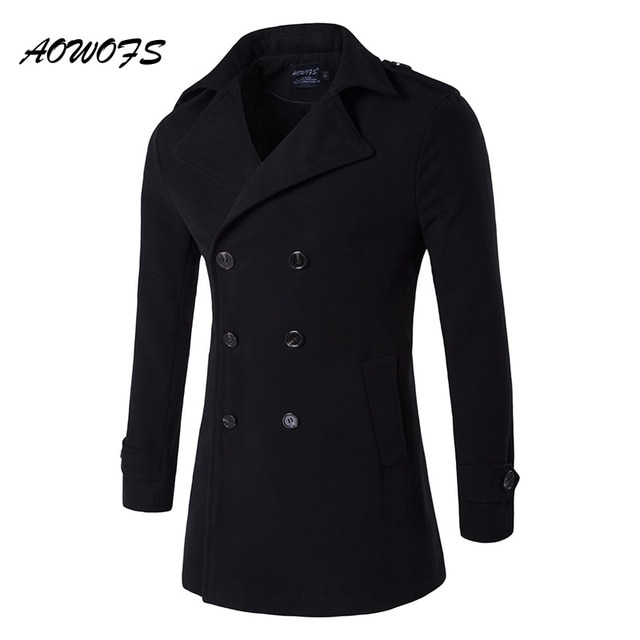 AOWOFS Mens Pea Coat 2017 Winter Wool Coats Men Double Breasted Wool