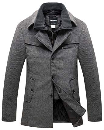 Wantdo Men's Wool Blend Pea Coat Windproof Thick Winter Jacket with