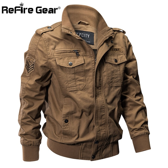 ReFire Gear Military Pilot Jackets Men Winter Autumn Bomber Cotton