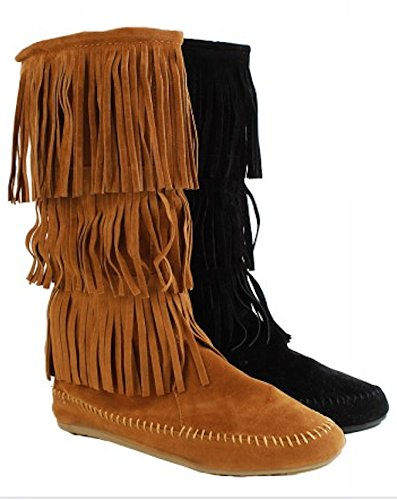 Amazon.com | Women's Faux Suede Moccasin Fringe Mid Calf Boots in