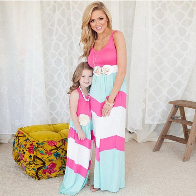 2018 summer matching mother daughter dresses clothes long maxi dress