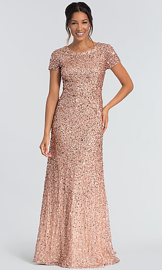 Adrianna Papell Long Rose Gold Sequin MOB Dress