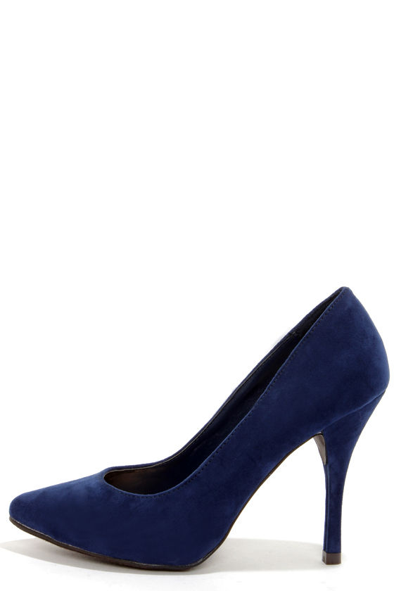 Cute Navy Blue Shoes - High Heels - Pointed Pumps - $25.00