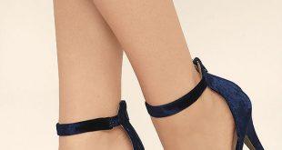 Sexy Navy Blue Heels - Velvet Heels - Ankle Strap Heels - $26.00