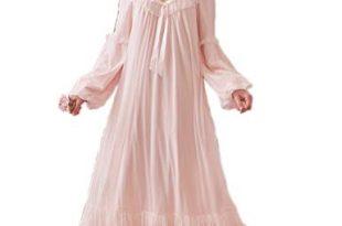 Women's Vintage Victorian Nightgown Long Sleeve Sheer Sleepwear