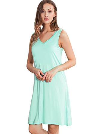 GYS Womens Bamboo Viscose Sleeveless V Neck Nightgown at Amazon