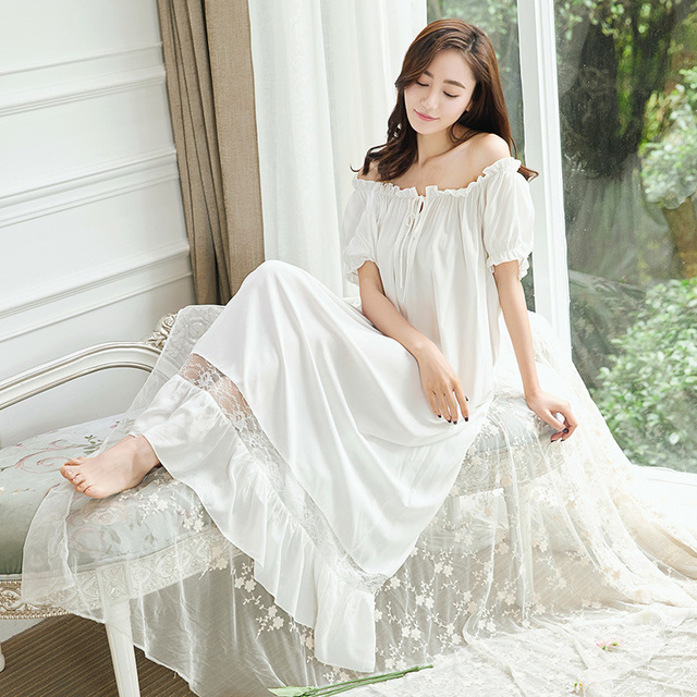 Vintage Princess Nightgown Pyjamas Women's Lace Ruffles Sleepwear