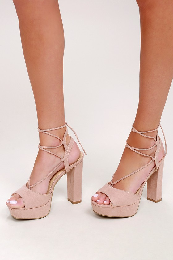 Sexy Platform Heels - Lace-Up Heels - Nude Heels