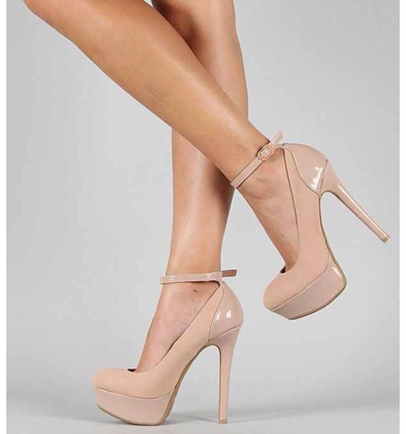 shoes, nude, nude high heels, high heels, cream high heels, cute