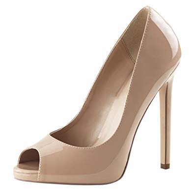 Amazon.com | Womens Nude High Heels Peep Toe Pumps Platform Shoes