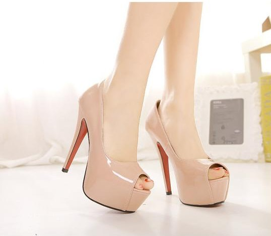 Sexy Nude Peep Toe High Heel Pumps on Luulla