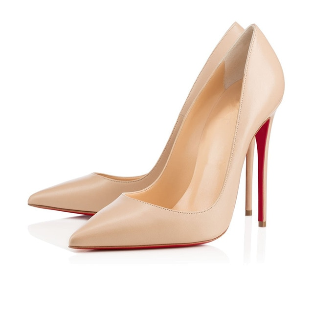 Red Bottom High Heels Brand Nude color matte Women Pumps Pointed Toe