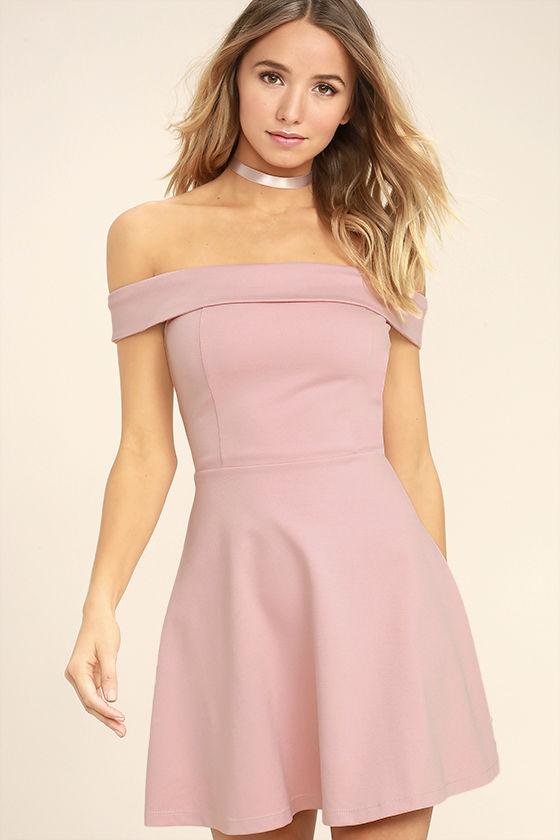 Cute Blush Pink Dress - Off-the-Shoulder Dress -Skater Dress