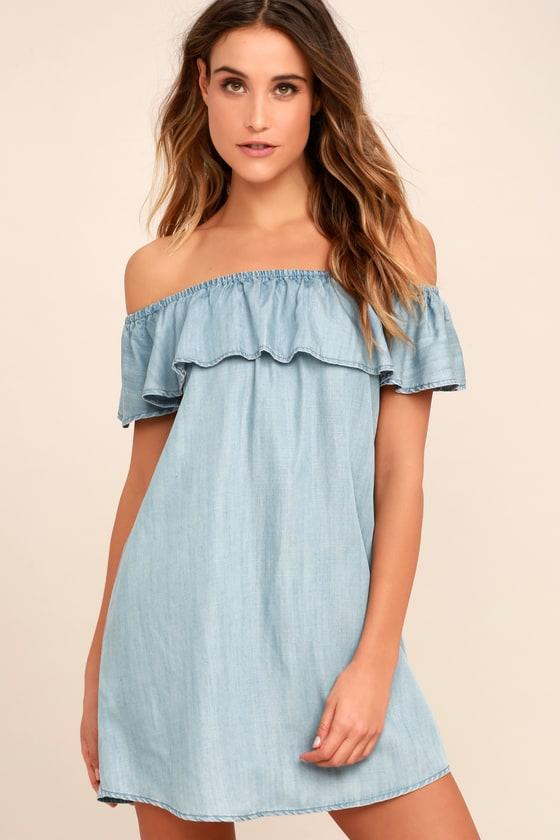Cute Off-the-Shoulder Dress - Chambray Dress - Shift Dress