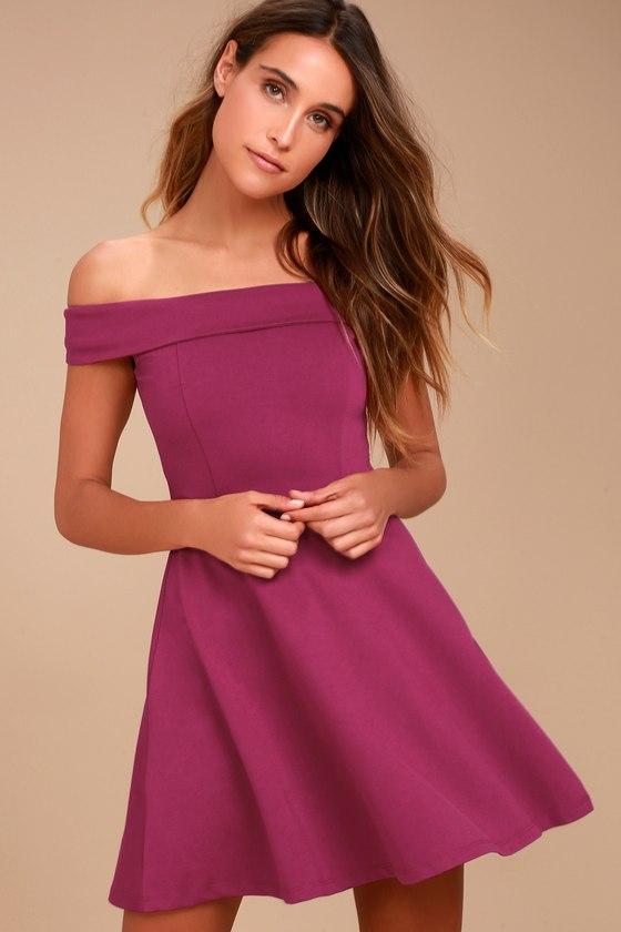 Cute Magenta Dress - Off-the-Shoulder Dress - Skater Dress