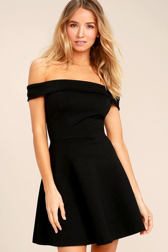 Cute Black Dress - Off-the-Shoulder Dress -LBD- Skater Dress