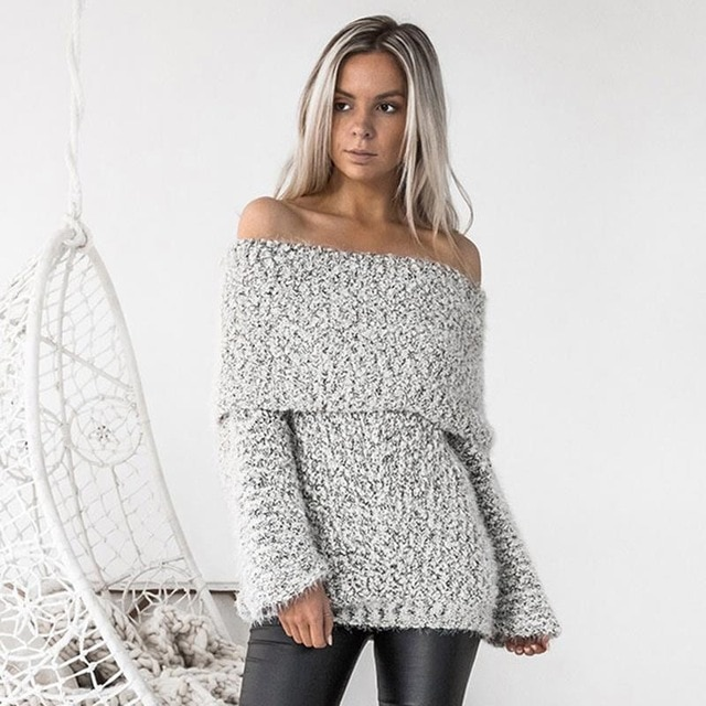 Women Sweaters Sexy Off Shoulder Jumper For Party Slash Neck Long