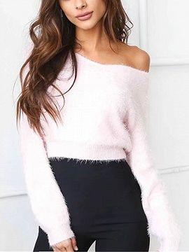 Shop Pink Off Shoulder Fluffy Long Sleeve Knit Jumper from choies