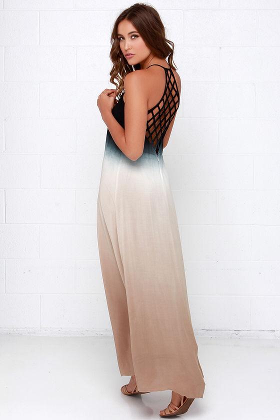 Boho Dress - Maxi Dress - Dip-Dye Dress - Black Dress - $68.00