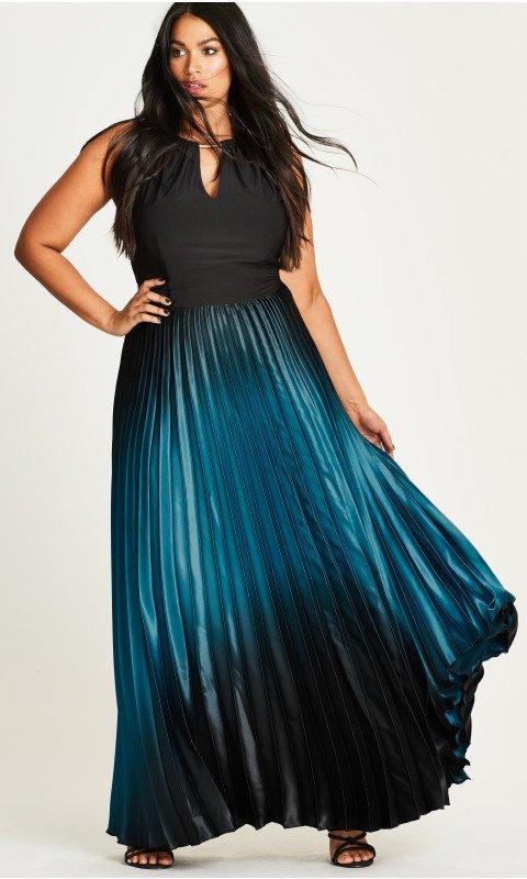 Shop Women's Plus Size Women's Plus Size Pleated Ombre Maxi Dress