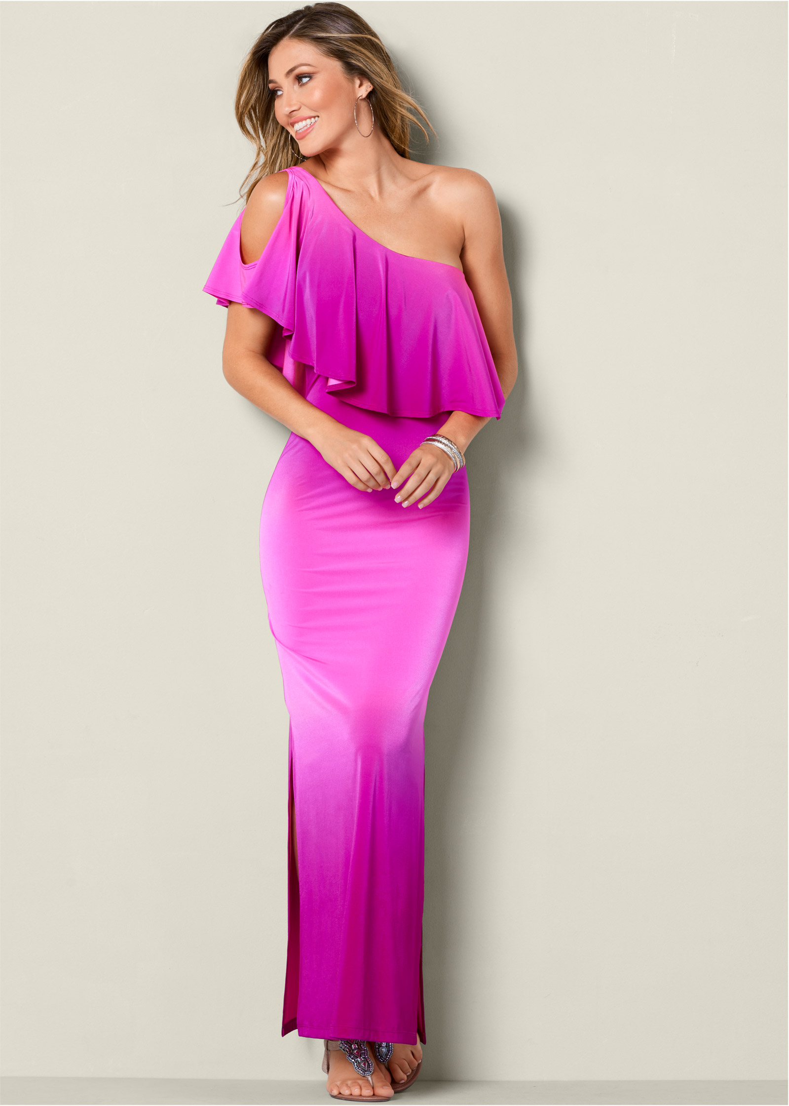 OMBRE MAXI DRESS in Fuschia Multi | VENUS
