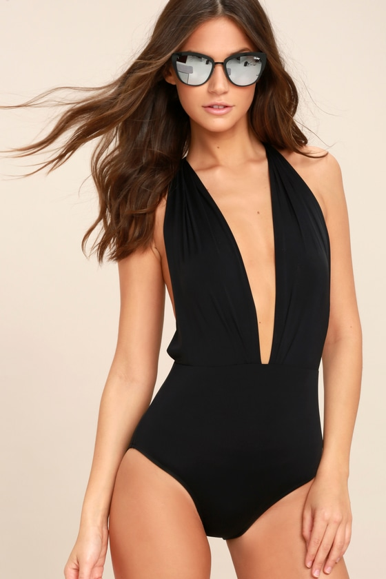 Sexy Black Swimsuit - One Piece Swim Suit - Halter Swim Suit