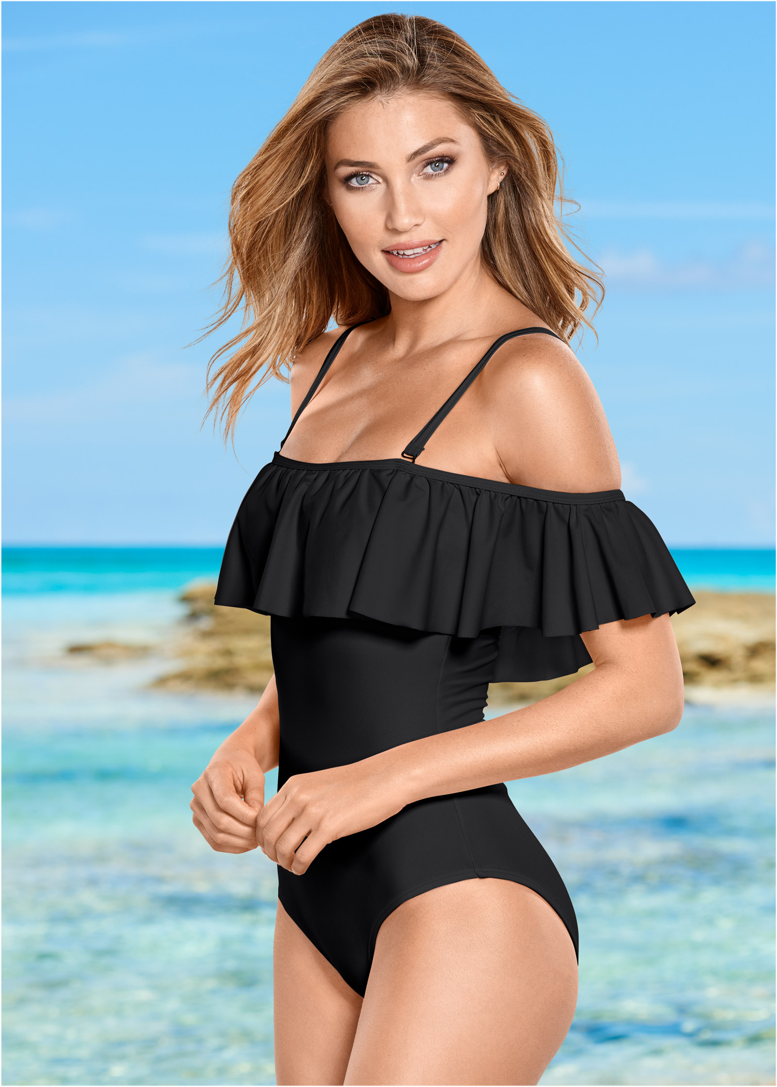 RUFFLE ONE-PIECE Swimsuit in Black Beauty | VENUS