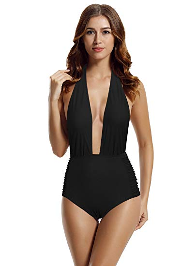zeraca Women's Deep Plunge High Waisted One Piece Swimsuit Bathing