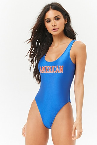 American Graphic One-Piece Swimsuit | Forever 21